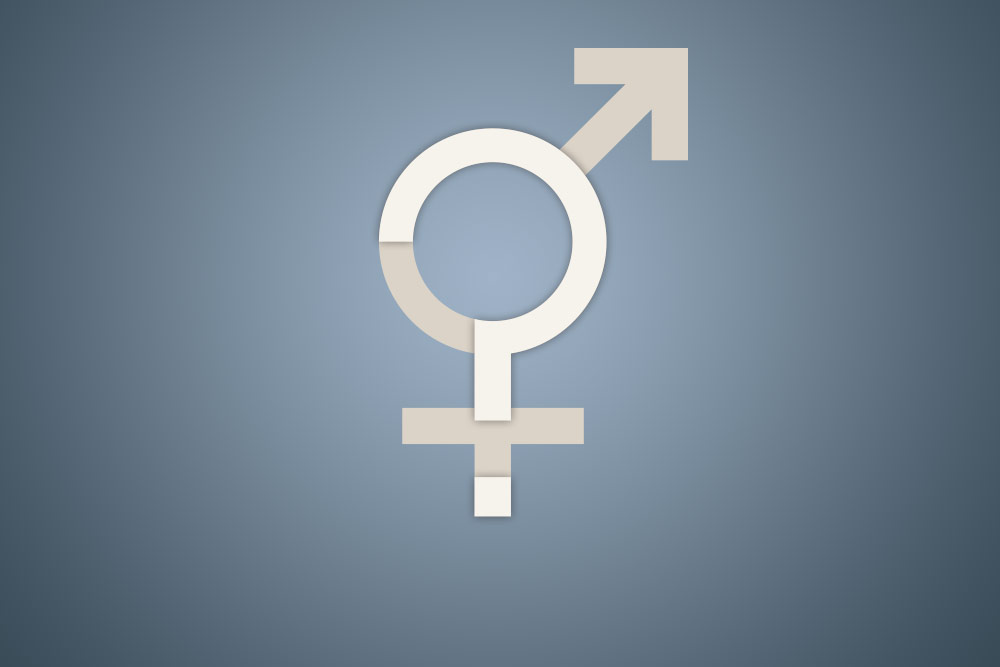 A variety of Bisexual icon symbol with a question mark superimposed