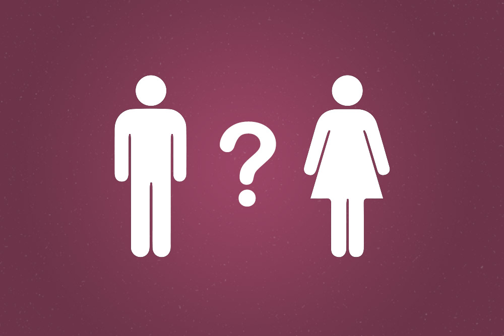 Icons of a man and woman with a question mark between them on a purple background